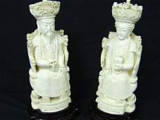 1486: PAIR OF IVORY ORIENTAL KING & QUEEN FIGURES C1900