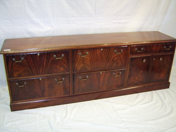 1115: FLAMED MAHOGANY CREDENZA WITH FILE DRAWERS