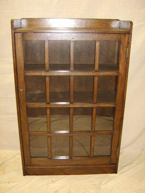 1313: MISSION-ARTS & CRAFTS OAK ONE DOOR BOOKCASE