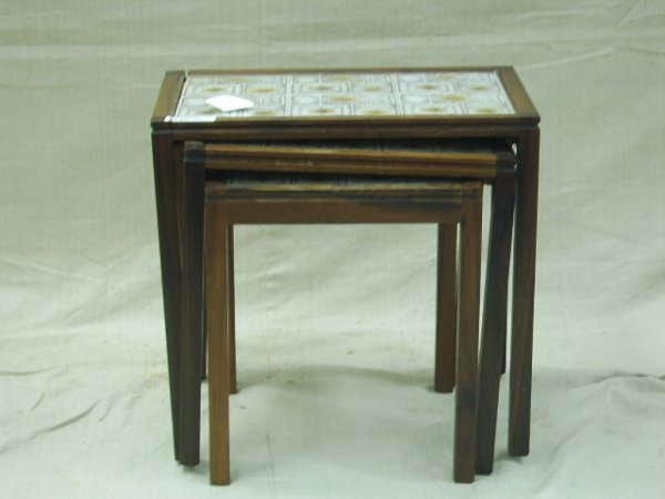 1318: MODERN ROSEWOOD STACK TABLES WITH TILE TOPS