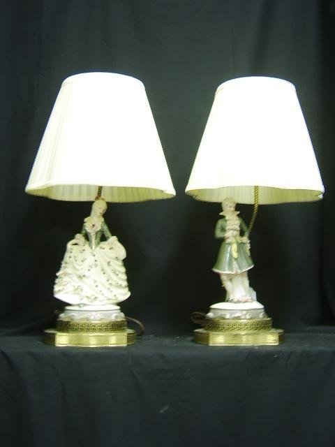 1320: FIGURAL FRENCH STYLE PORCELAIN LAMPS