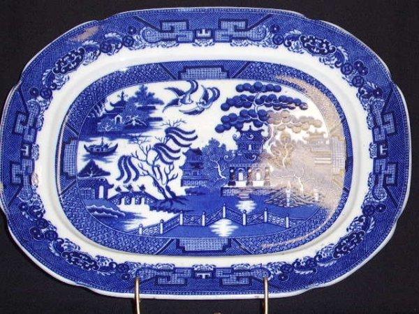 2: BLUE WILLOW MEAT PLATTER