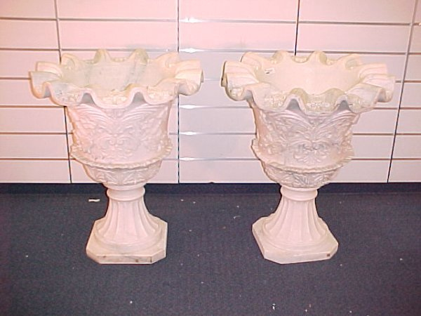 24: CARVED ITALIAN MARBLE JARDINIERE STYLE PLANTERS