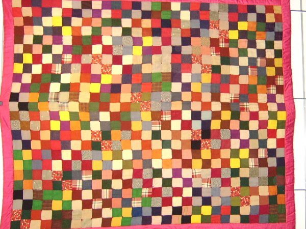 403: QUILT-AFRICAN AMERICAN STACKED BLOCKS 1930'S