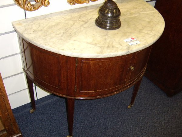 408: FRENCH MARBLE TOP MAHOGANY DEMI-LUNE