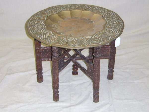 416: ORIENTAL CARVED BRASS TRAY TABLE