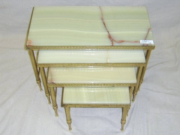 421: FRENCH STYLE ONYX TOP NESTING TABLES