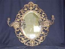 571: VICTORIAN STYLE BRASS MIRROR WITH CANDLE HOLDERS