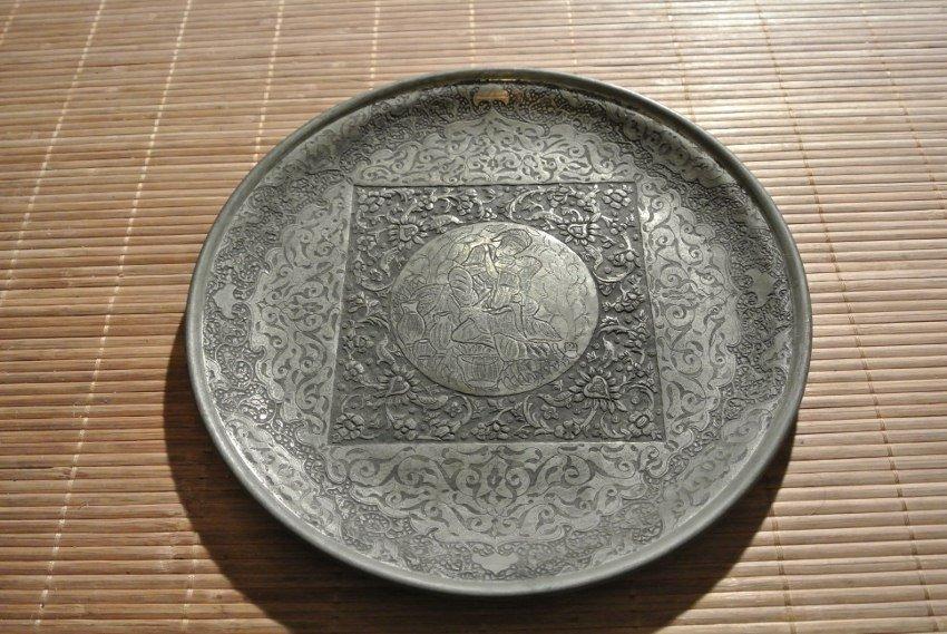 Persian ebonised picturial Bronz Plate Bazme Khayyam