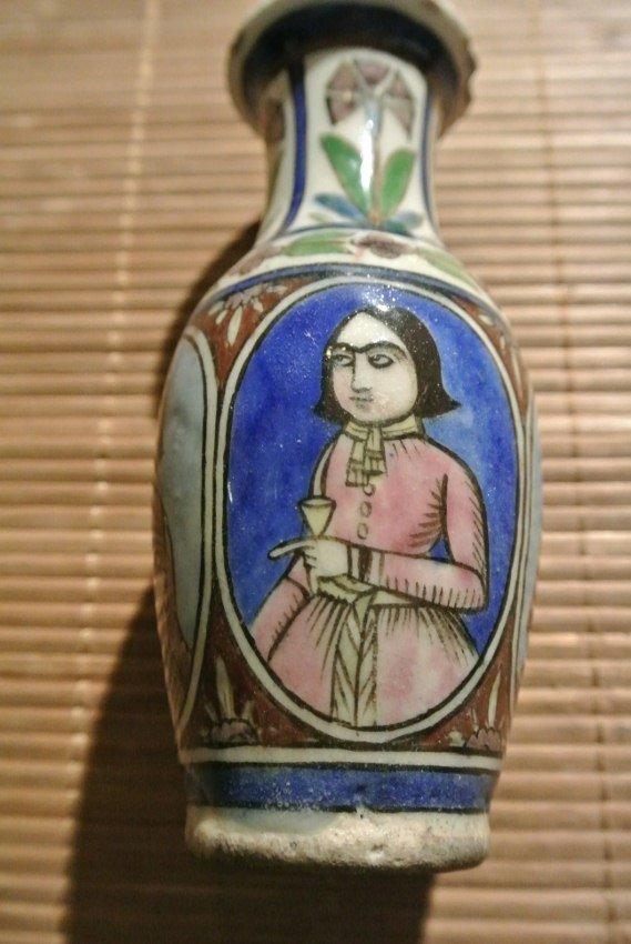 Persian Pottery Rare Vase Qajar or Safavid Period