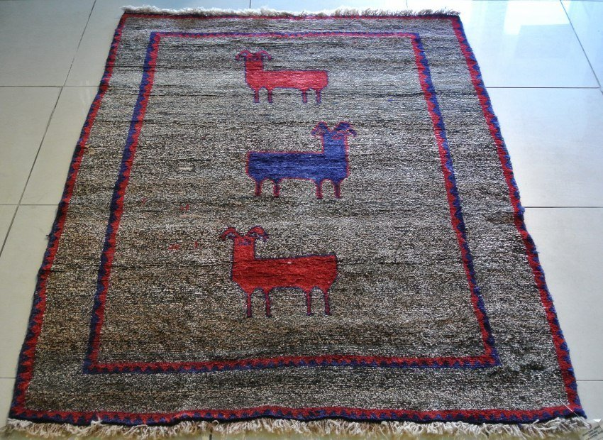 All wool Gabbeh Shiraz hand made carpet with lucky goat