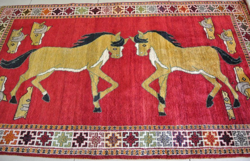 Persian pictorial rus Gabbeh sierra of Arabian horse