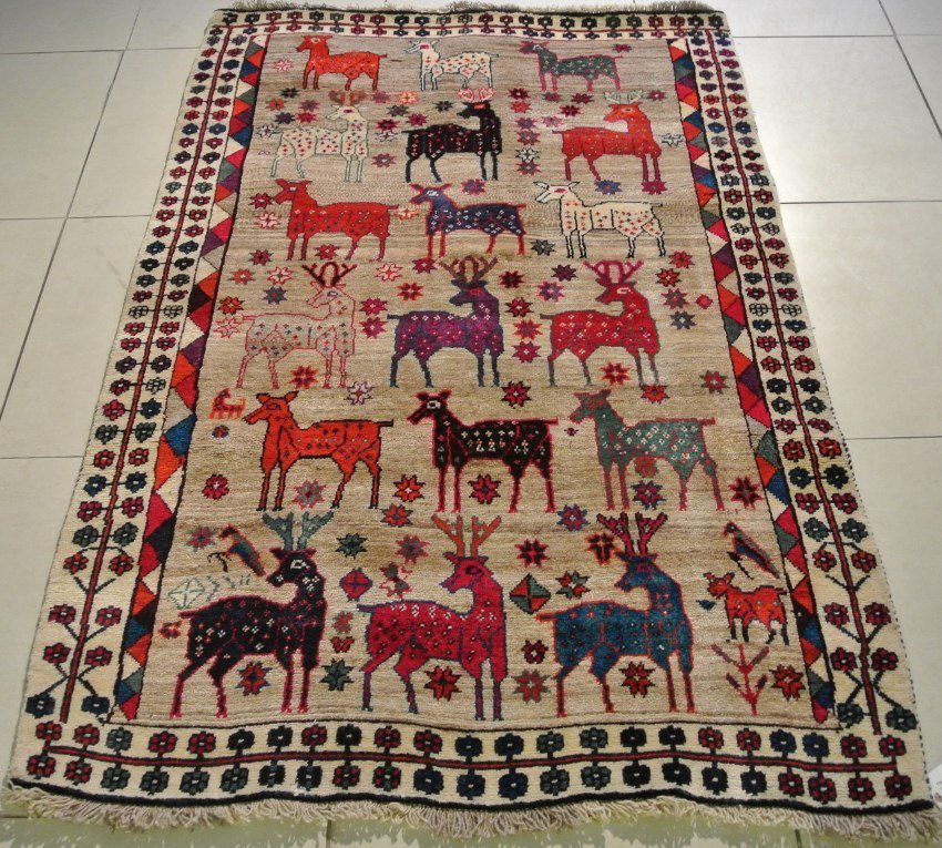 Persian Pictorial rug folk art gabbeh Celeberation dear