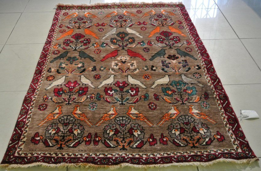 Persian rug hand made pictorial gabbeh of Doves