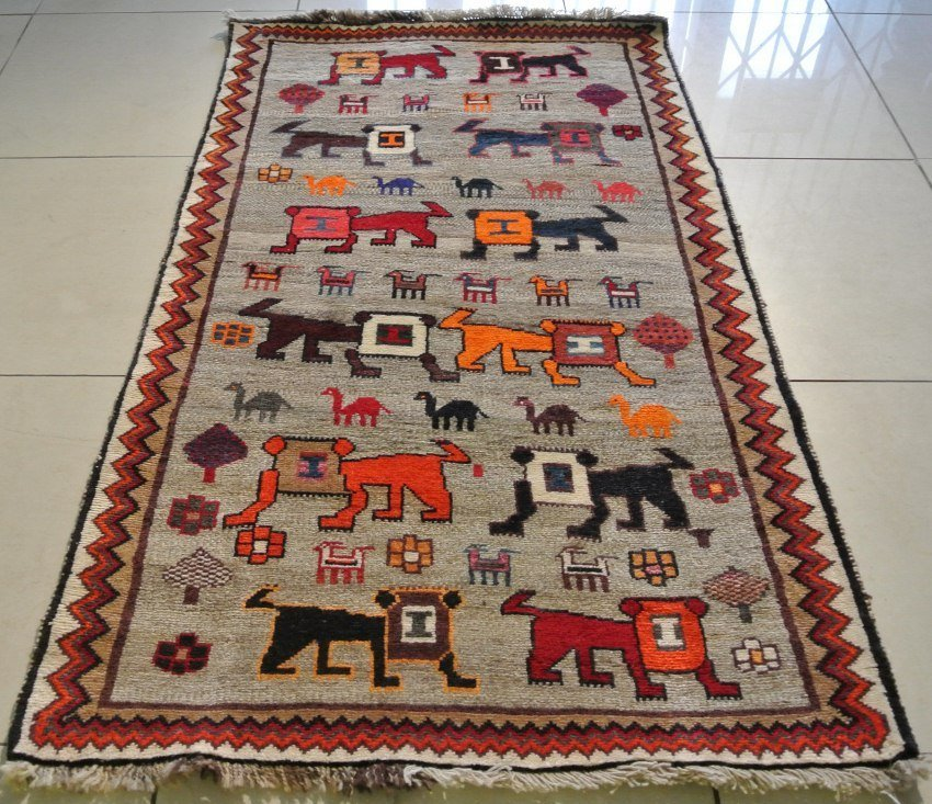 Persian rug Gabbeh Pictorial Lion carpet