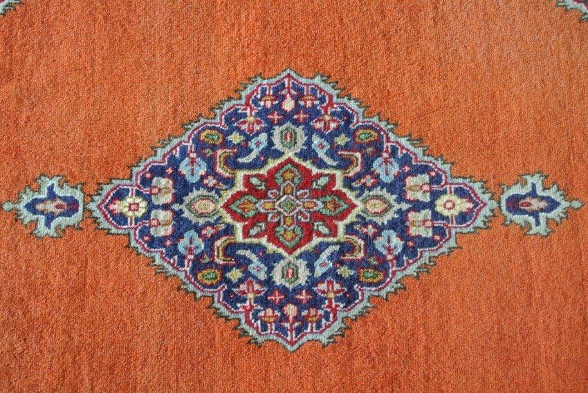 Persian rug hand made elegant Tabriz red runner