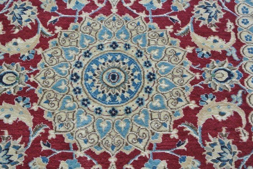 Persian rug wool and silk Nain runner 6la
