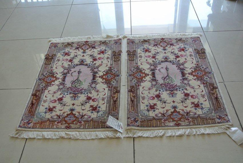 Pair Persian rug hand made wool and silk Zirkhaki