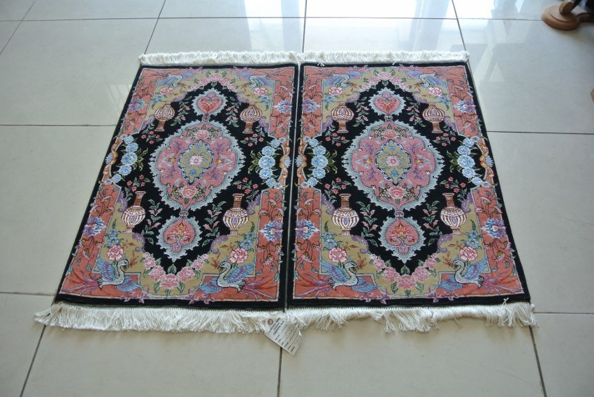 Pair of hand made Persian rugs wool and silk new