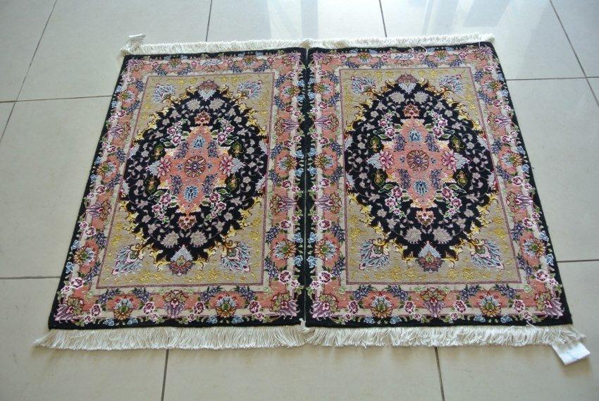Pair of handmade persian rug new wool and silk