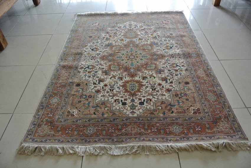 Vintage authentic tabriz rug hand made wool and silk
