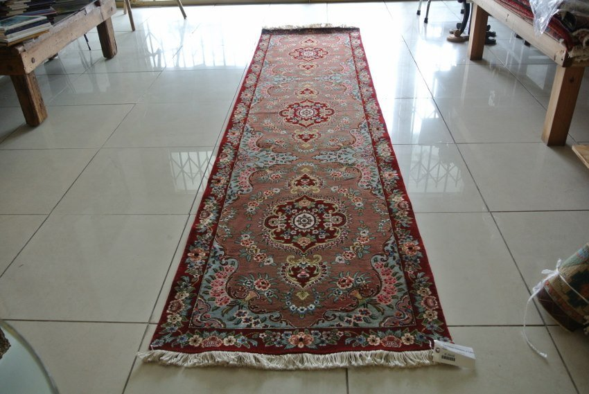Hand made in Iran Persian Tabriz runner wool and silk