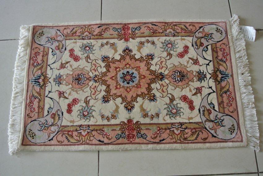 Persian rug handmadein Iran Tabriz wool and silk