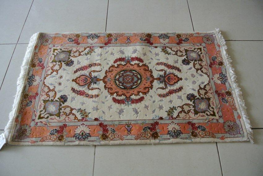 Hand made Persian rug mat wool and silk