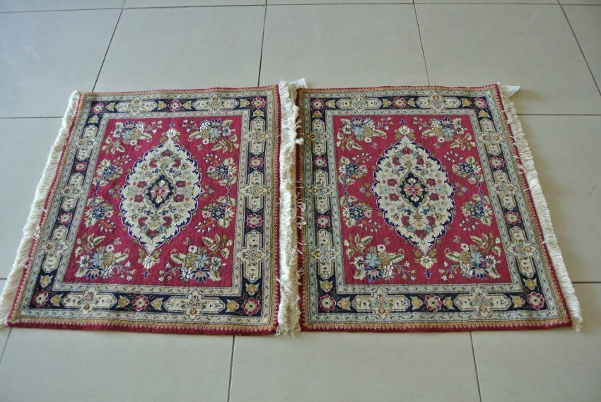 Pair Persian carpet new hand made Tabriz wool and silk