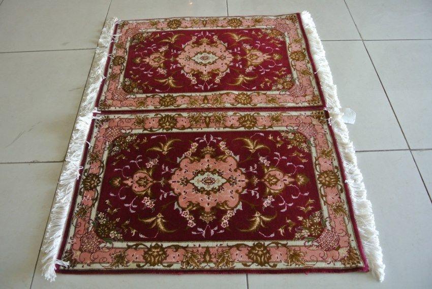 Pair of New Persian carpet wool and silk mats