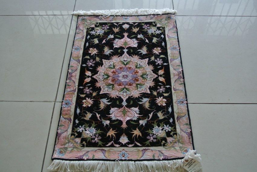 Hand made Tabriz rug  Iran  wool and silk mat is a gem