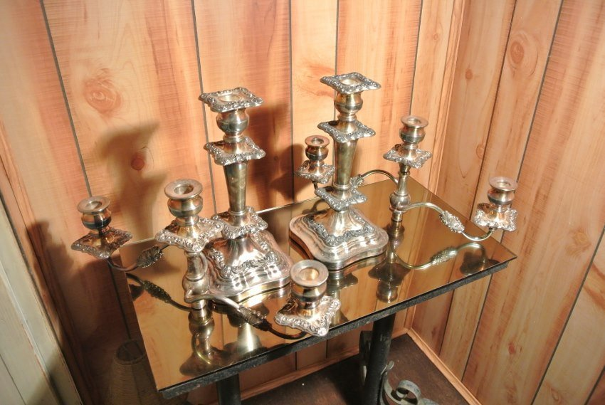 Mid Century multiple heights Candle holders  signed - 4