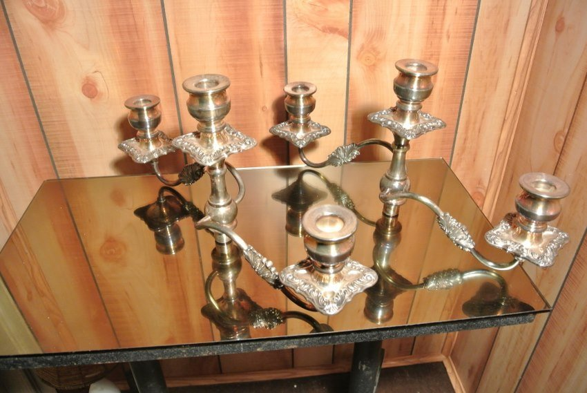 Mid Century multiple heights Candle holders  signed - 6