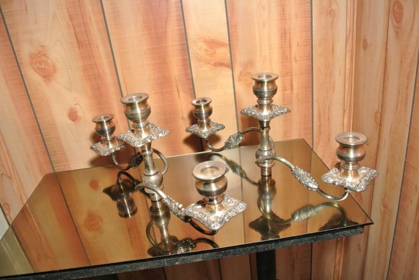 Mid Century multiple heights Candle holders  signed - 8