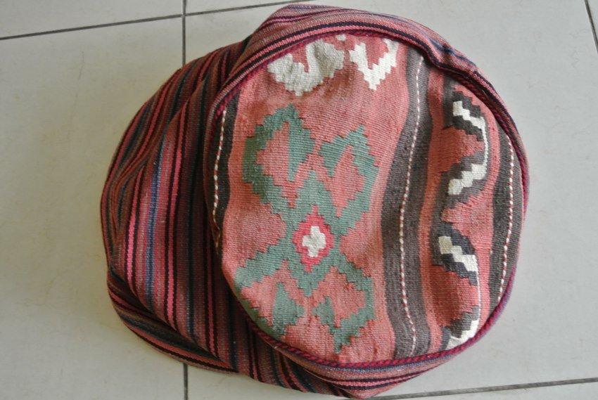 Persian rug made to ottoman seat