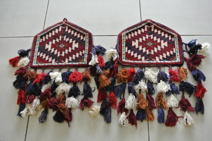 Persian rug Pair of Antique Camel knee pads