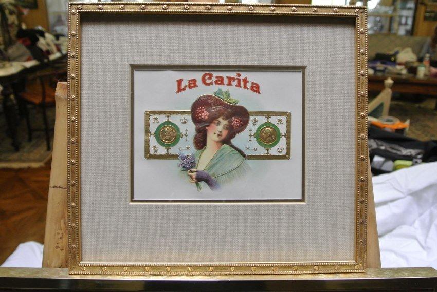 Antique Collage  Cigarette sticker La Carita