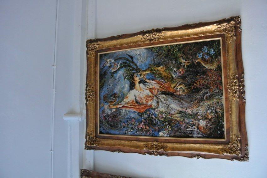 Persian picturial rug Tabriz Farshchian