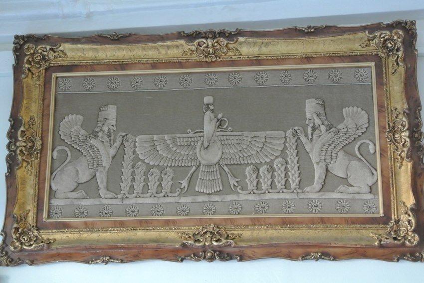Persian pictorial Silk Tabriz rug Persepolis