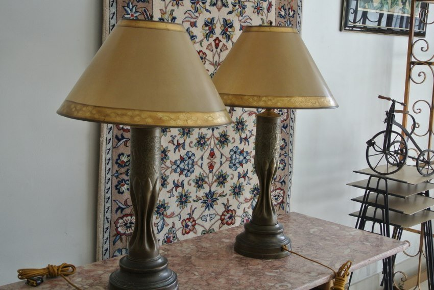 Pair of antique shell trench art lamp
