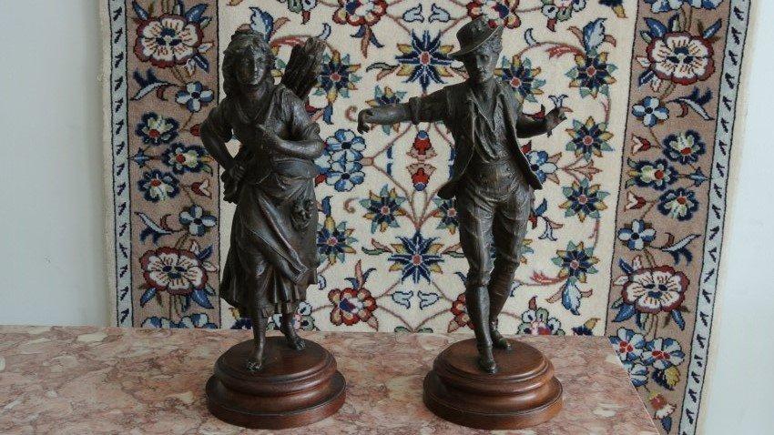 Pair of Spelter statue