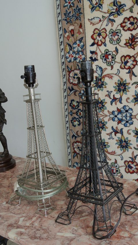 Pair of his and her's black and white Ifel tower lamps