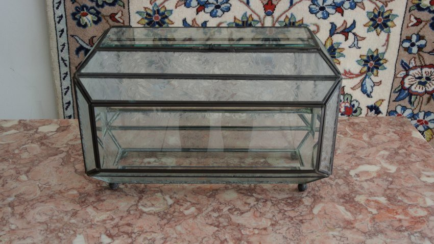 Art Nouve display case with beveled and frosted glass