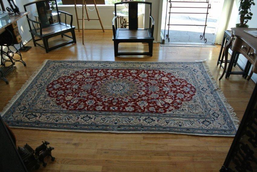 Persian Rug Hand made wool and silk Nain 9La