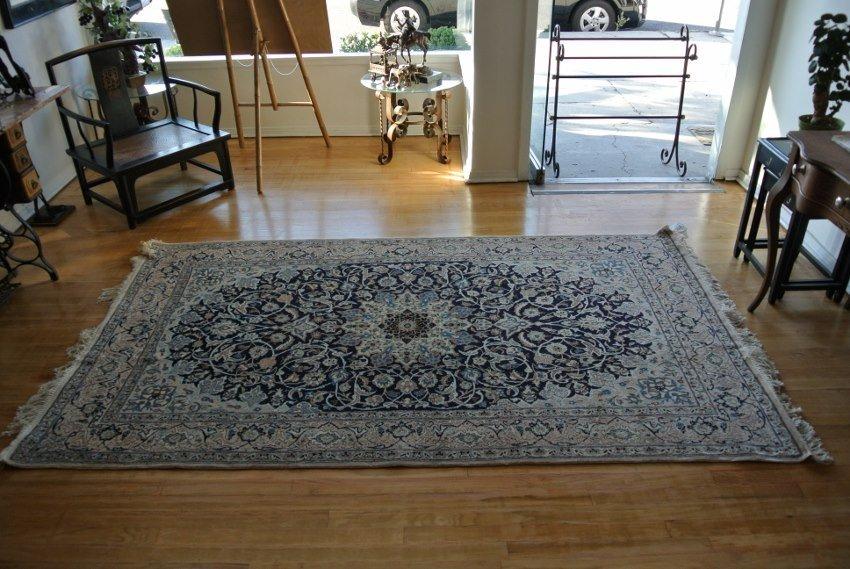 Persian rug hand made wool and silk Isfahan Nain