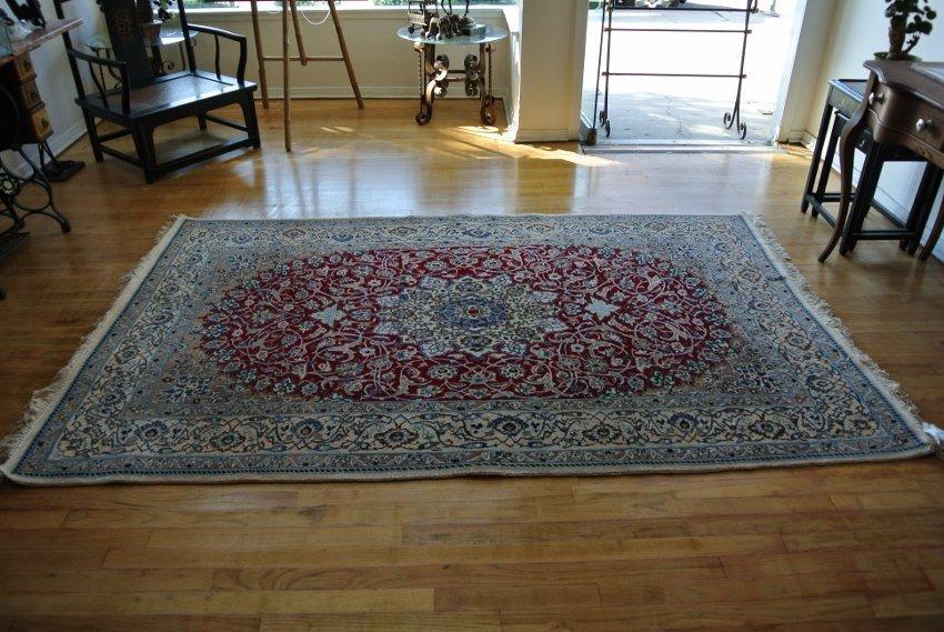 Persian carpet hand made Nain w&silk 9 La