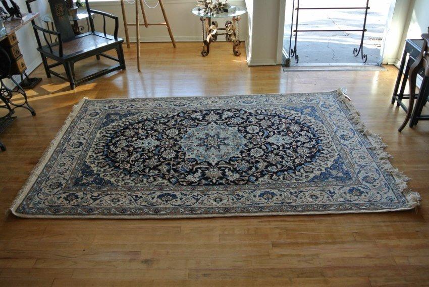 Persian carpet hand made  silk inla 9i Nain  9 La