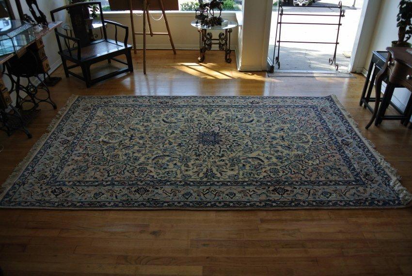 Persian rug hand made  silk ilay  Nain 9 La
