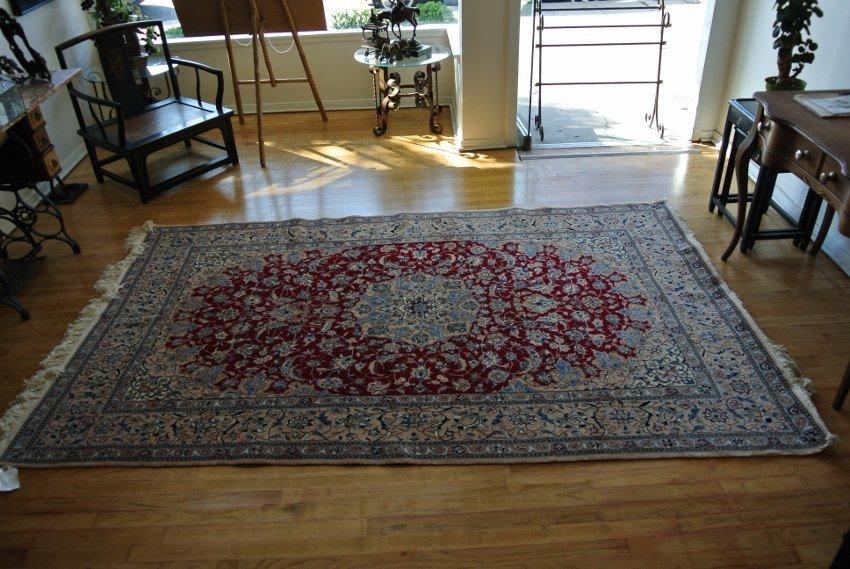 Persian rug hans made wool and silk Nain 9 La