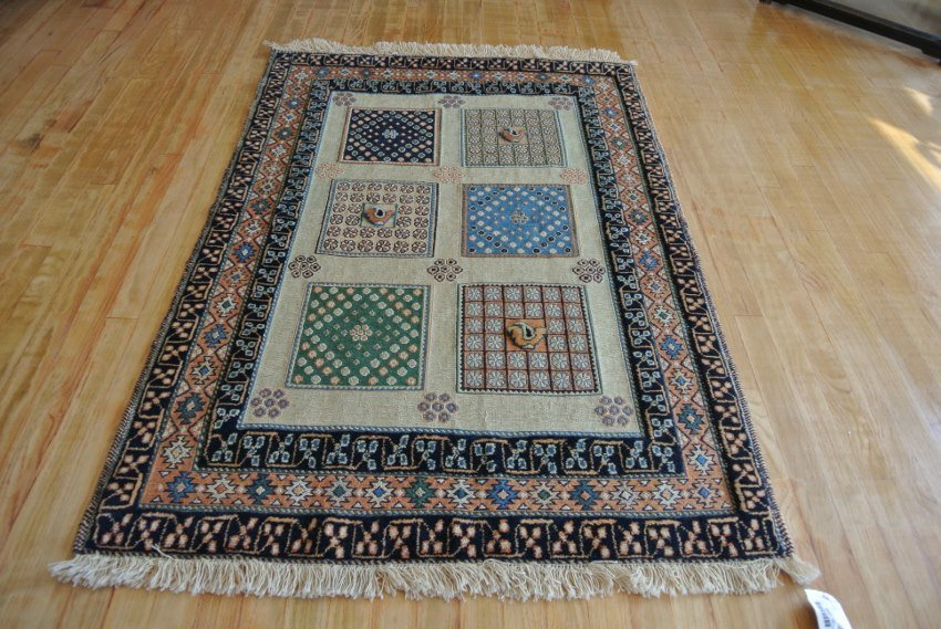 Persian rug hand made wool unsual combination weave